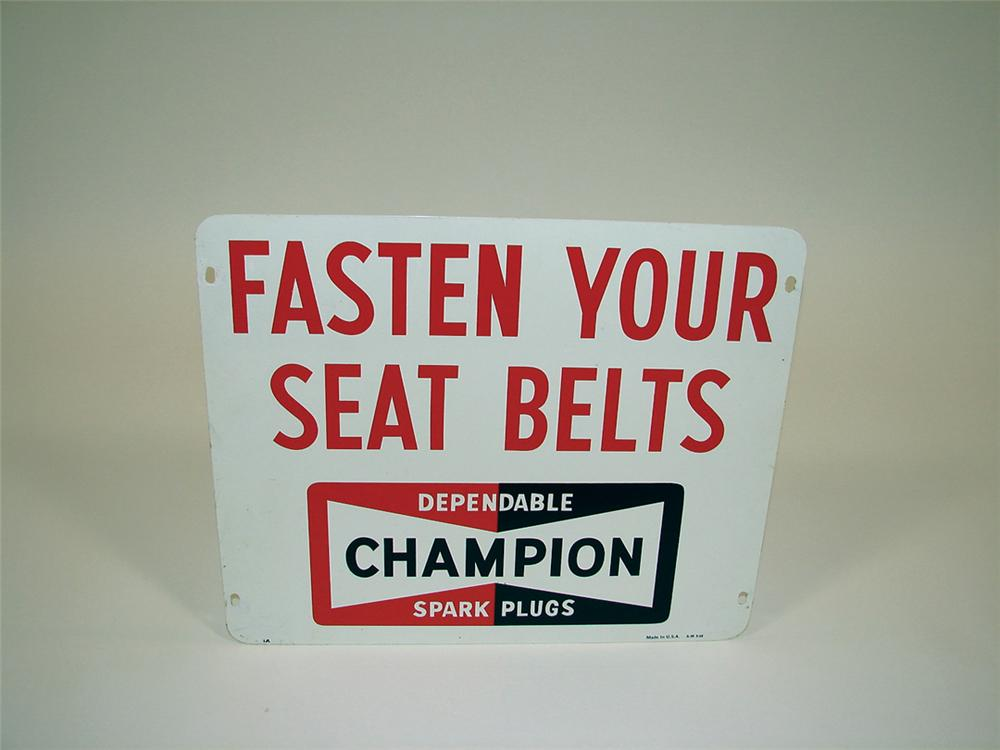 "Very clean Champion Aviation Spark Plugs ""Fasten Your Seat Belts"" double-sided tin runway sign. - Front 3/4 - 75739"