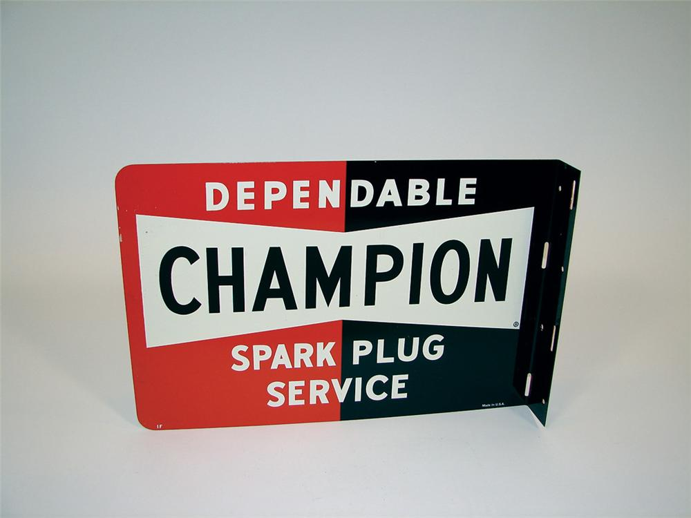 N.O.S. late 50s Champion Spark Plugs tin painted garage flange. - Front 3/4 - 75741