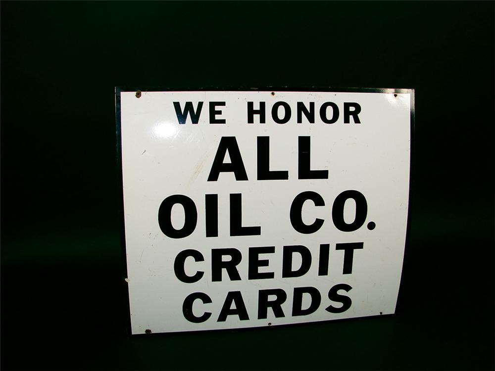 "1950s ""We Honor All Credit Cards"" porcelain service station sign. - Front 3/4 - 75742"