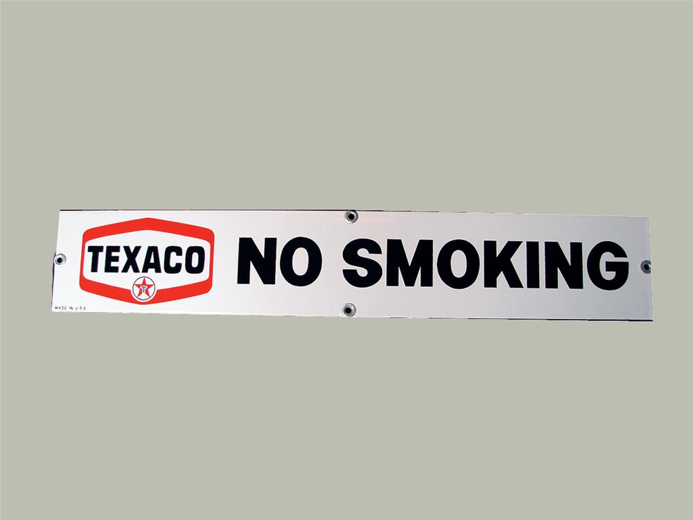 N.O.S. late 50s Texaco No Smoking single-sided porcelain service station sign. - Front 3/4 - 75743