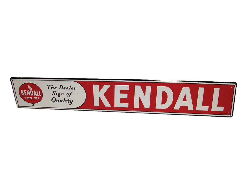 Immaculate N.O.S. Kendall Motor Oil single-sided tin horizontal garage sign. - Front 3/4 - 75744