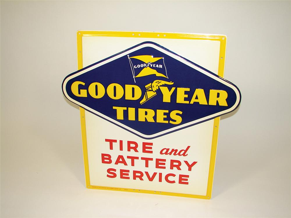 N.O.S. 1954 Goodyear Tires embossed tin garage sign. - Front 3/4 - 75747