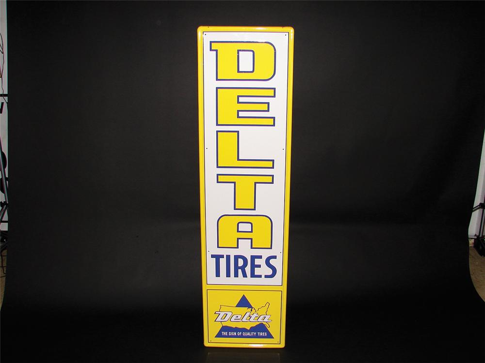 N.O.S. 1960s Delta Tires vertical tin garage sign. Pulled out of the original shipping paper. - Front 3/4 - 75752