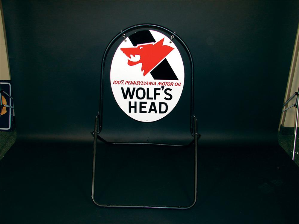 N.O.S. Wolfs Head Motor Oil double-sided tin curb sign. - Front 3/4 - 75754