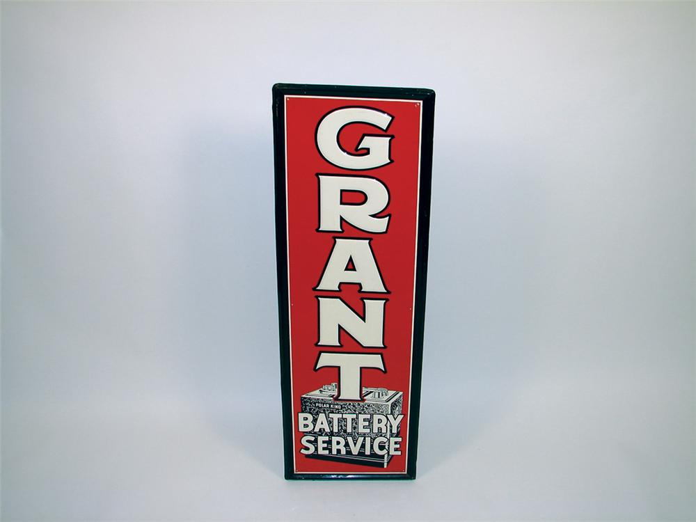 Impressive Grant Battery Service single-sided tin vertical garage sign. - Front 3/4 - 75755