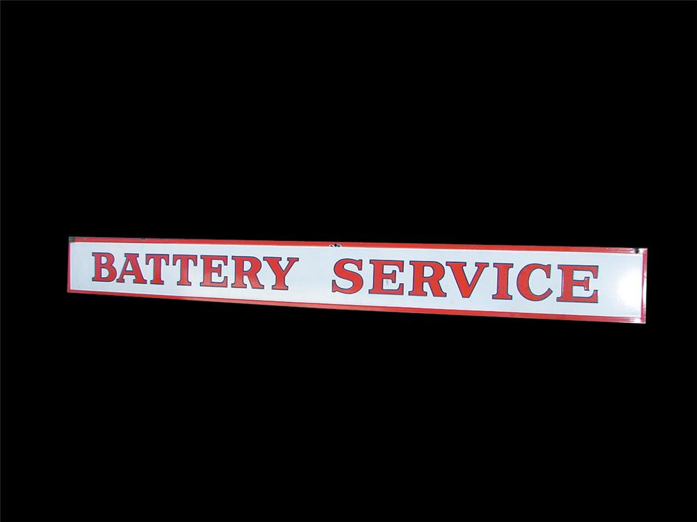 "Choice 1940s Skelly Service Station ""Battery Service"" single-sided porcelain garage sign. - Front 3/4 - 75758"