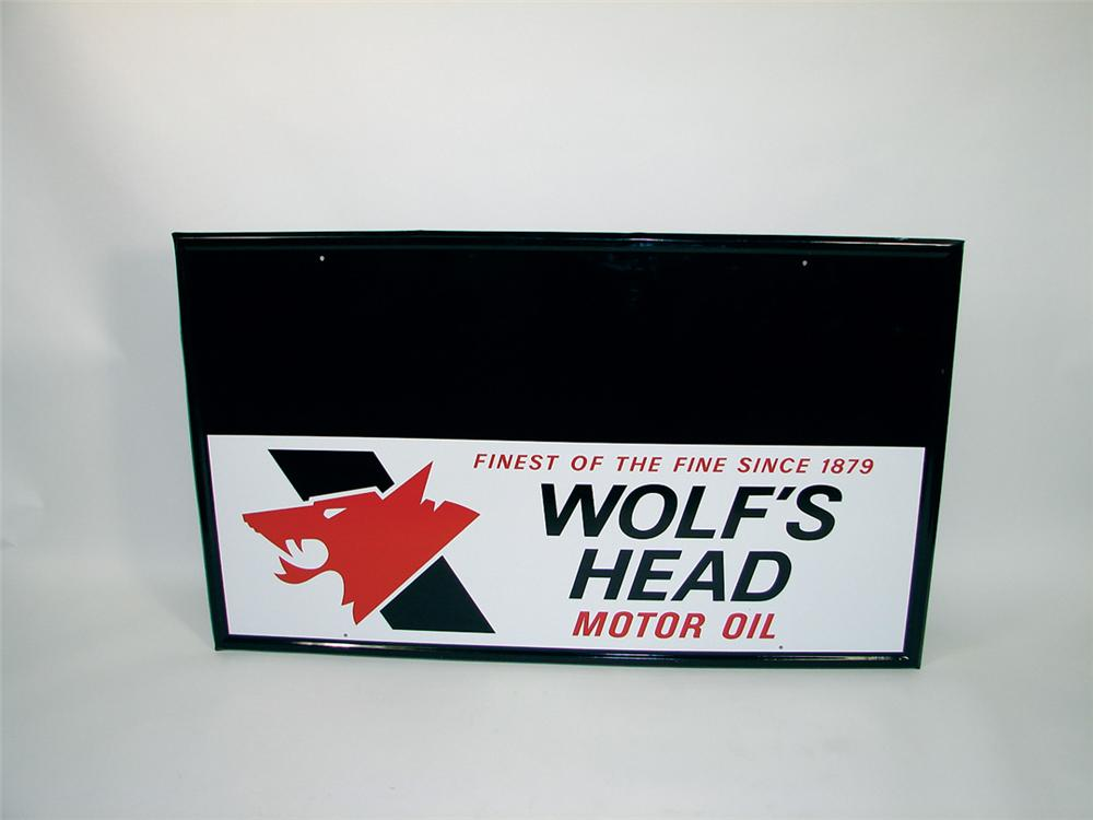 Large N.O.S. Wolfs Head Motor Oil sign single-sided tin garage sign. - Front 3/4 - 75759
