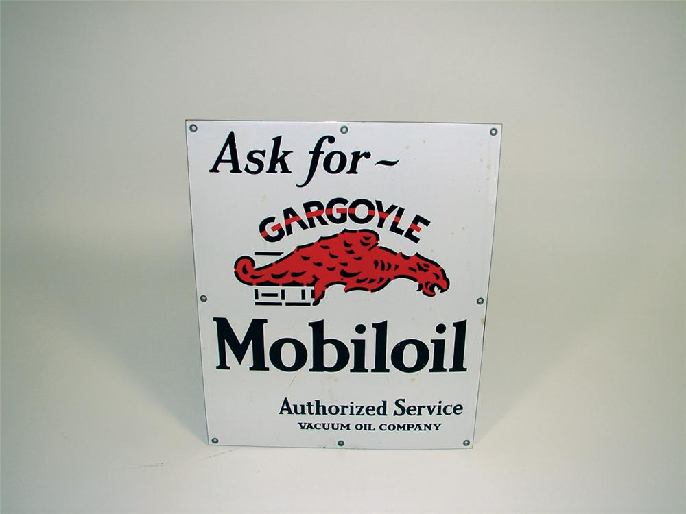 Very clean 1930s Gargoyle Motor Oil single-sided porcelain garage sign. - Front 3/4 - 75760