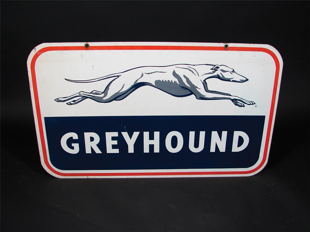 1950s Greyhound Bus Lines double-sided tin bus depot sign. - Front 3/4 - 75764