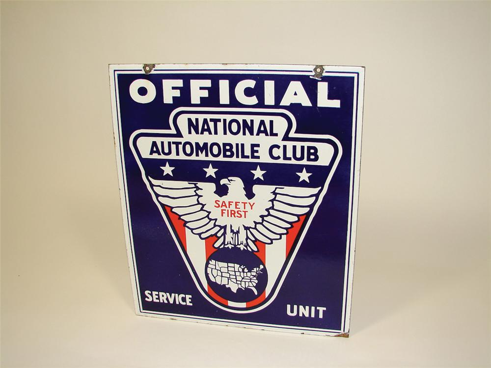 Choice 1930s National Automobile Club double-sided porcelain garage sign constructed out of a heavy early cobalt blue porcelain. - Front 3/4 - 75766