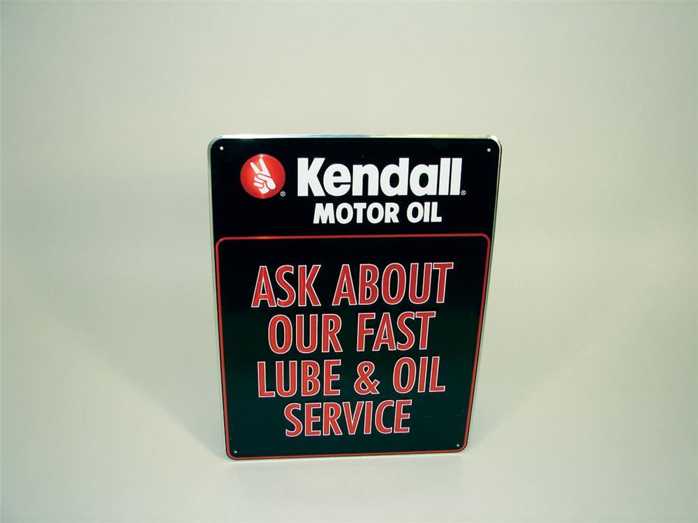 "Kendall ""Ask about our fast Service"" tin painted garage sign. - Front 3/4 - 75769"