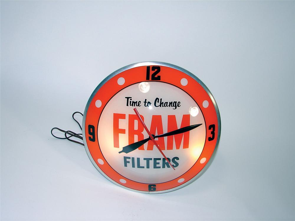 Very desirable 1950s Fram Filters dbl-bubble light-up station clock. - Front 3/4 - 75771