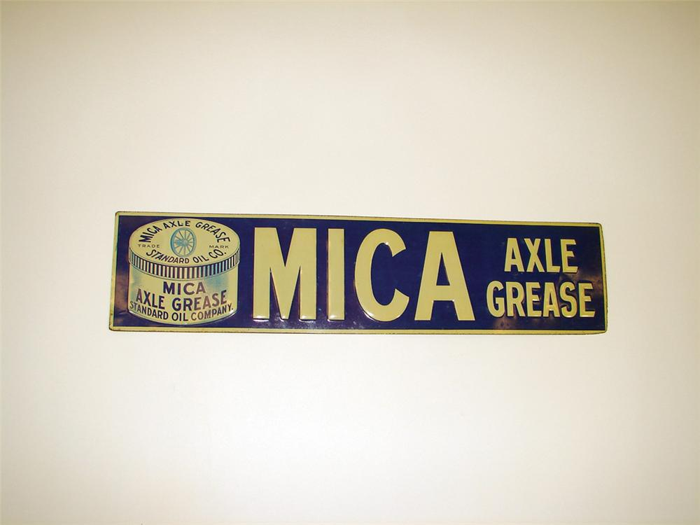Outstanding N.O.S. late teens Standard Mica Axle Grease single-sided tin garage sign. - Front 3/4 - 75778