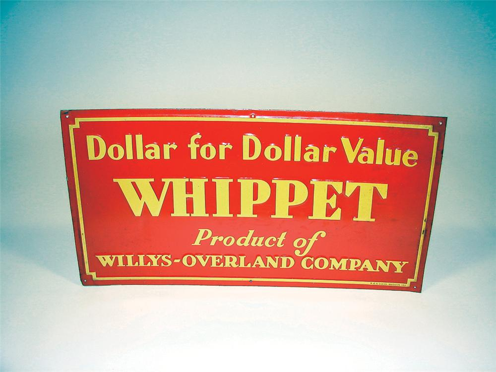 N.O.S. 1930s Willys Whippet Automobiles single-sided tin embossed garage sign. - Front 3/4 - 75779