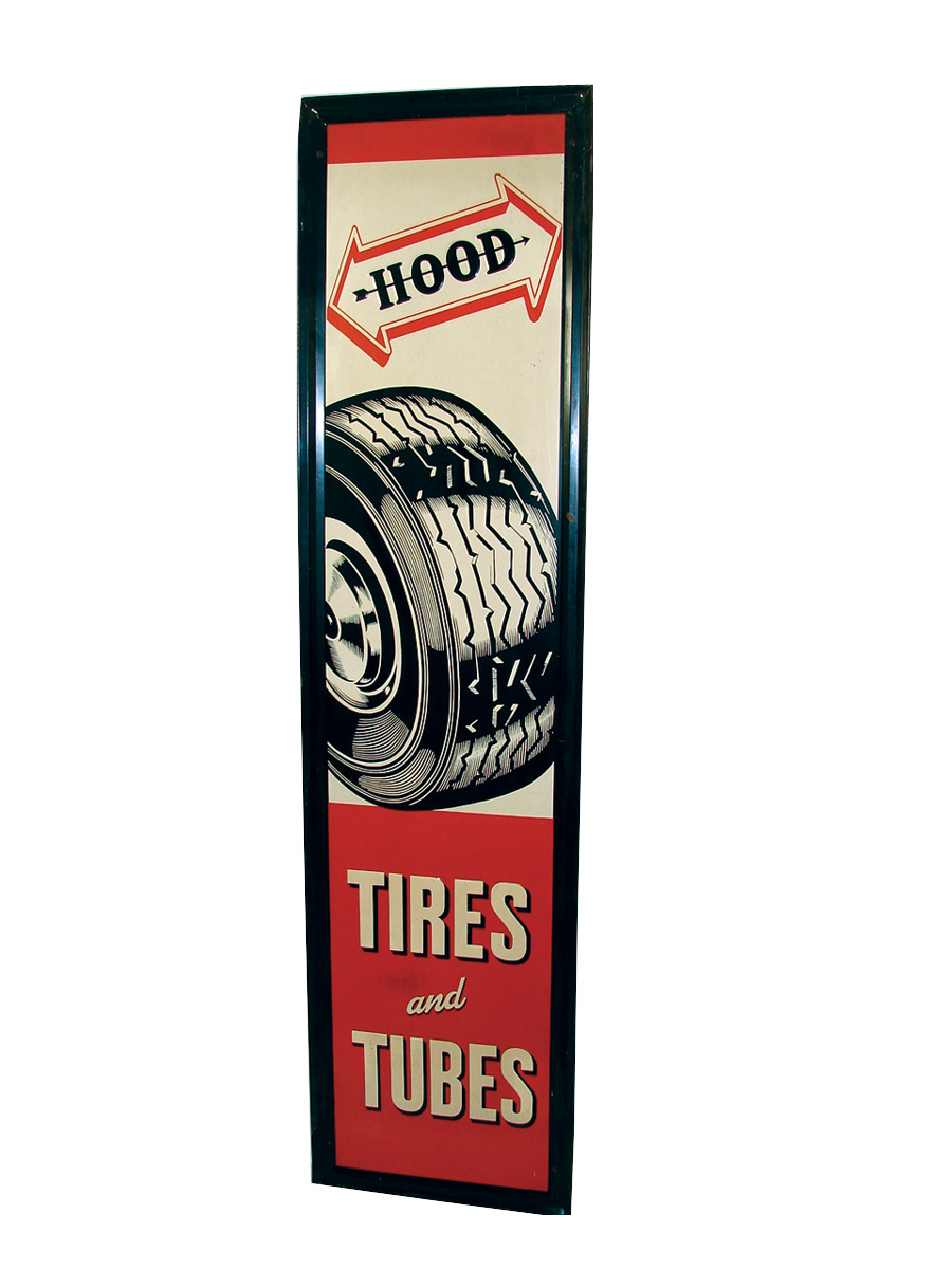 Sharp N.O.S. late 40s-early 50s Hood Tires self-framed embossed tin vertical garage sign with tire graphic. - Front 3/4 - 75780