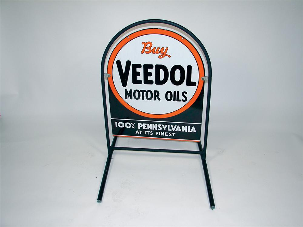 Veedol Motor Oil double-sided porcelain curb sign in frame. - Front 3/4 - 75790