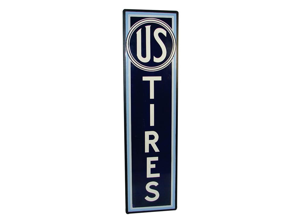 Very impressive 1940s U.S. Tires vertical porcelain garage sign with wood frame. - Front 3/4 - 75791