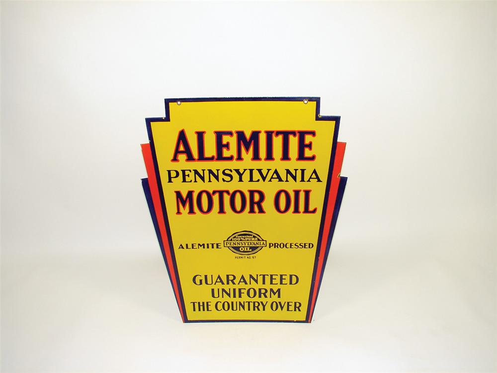 Scarce 1930s Alemite Motor Oil dbl-sided porcelain garage sign. - Front 3/4 - 75792