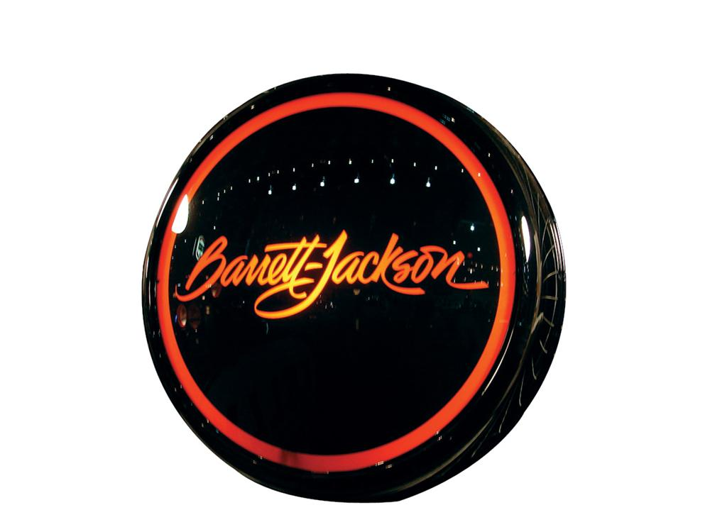 Stylish Barrett-Jackson glass faced light-up sign presented in a hand crafted aluminum body which has been powder coated. - Front 3/4 - 75794