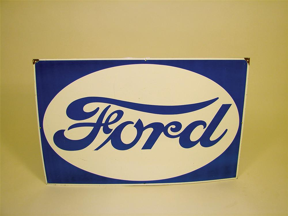 1940s Ford Automobiles single-sided porcelain dealership sign. - Front 3/4 - 75795