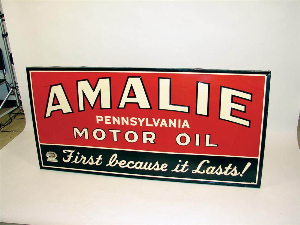 1946 Amalie Motor Oil tin painted wood framed garage sign. - Front 3/4 - 75797