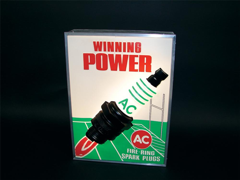"Killer early 1960s AC Spark Plugs ""Winning Power"" light-up garage sign with three dimensional plug. - Front 3/4 - 75800"