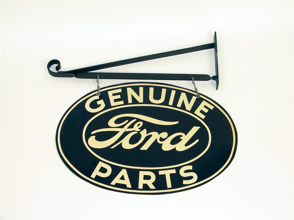 1930s Ford Automobiles dbl-sided tin oval sign w/bracket. - Front 3/4 - 75801