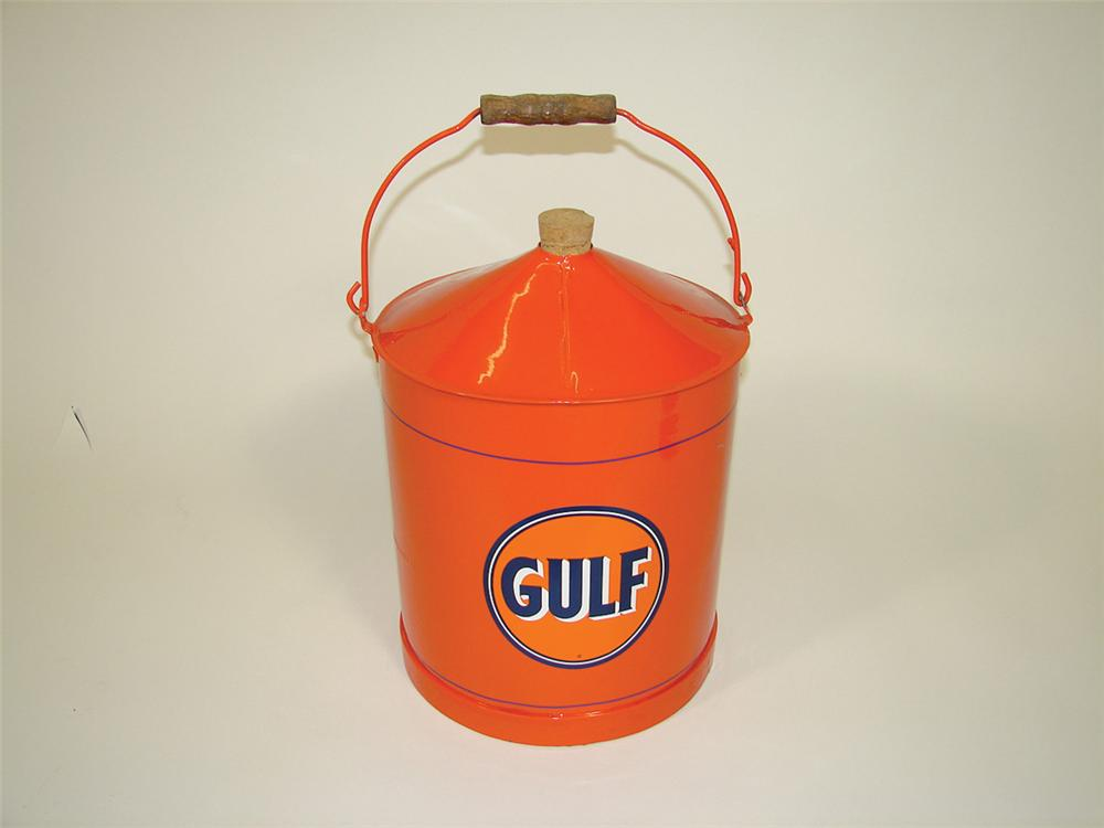 Restored circa 1930s Gulf Oil service station department can. - Front 3/4 - 75803