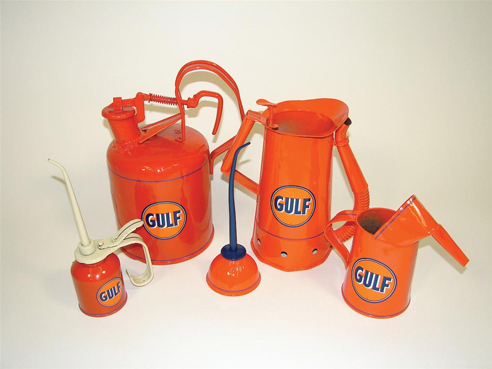 Lot of five Gulf service station restored cans.  Various Sizes - Front 3/4 - 75804