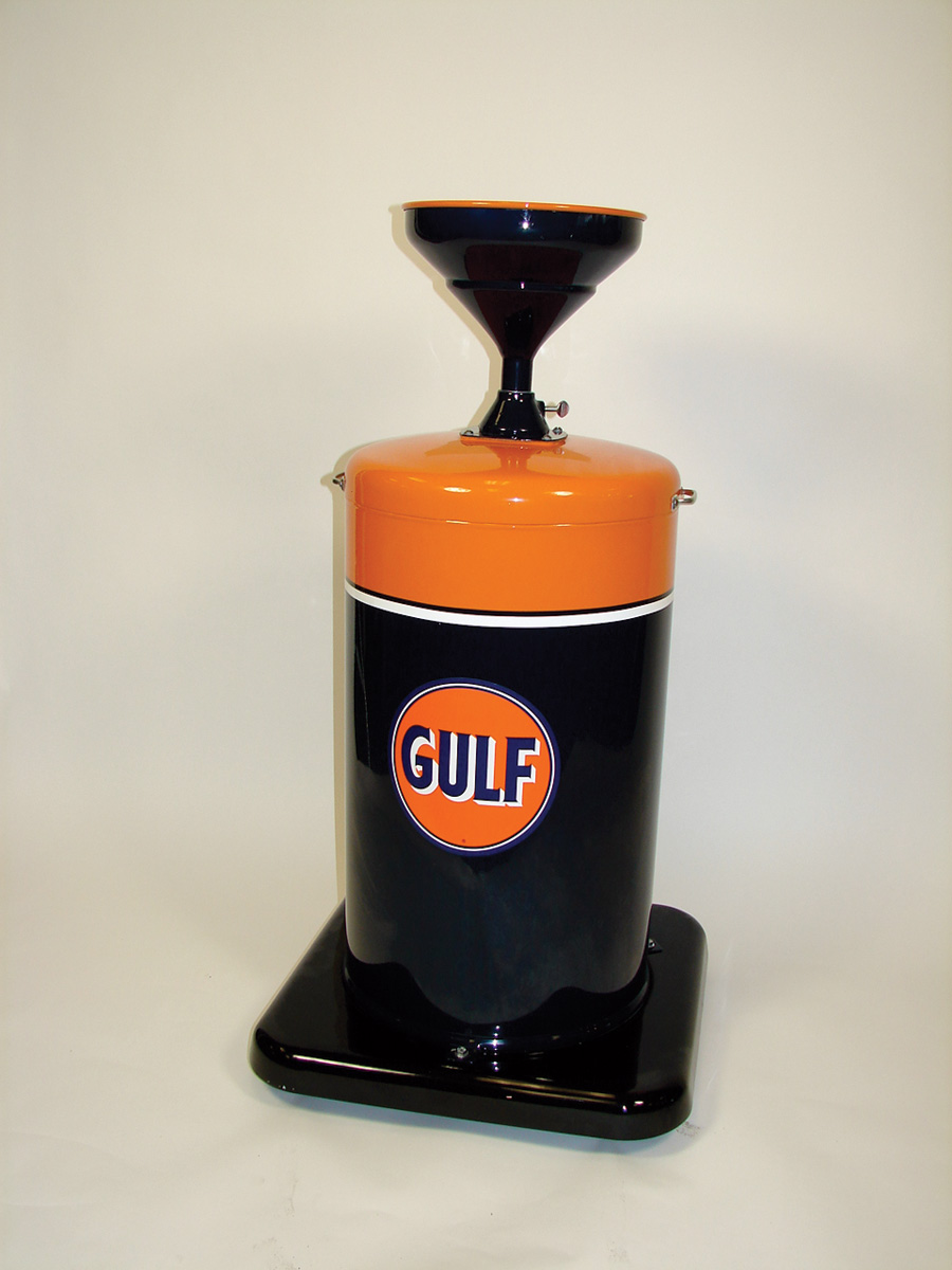 """Beautifully restored  1940s-50s Gulf Service Station department oil collector on wheels.  Size 23""""x46""""x27"""" - Front 3/4 - 75805"""