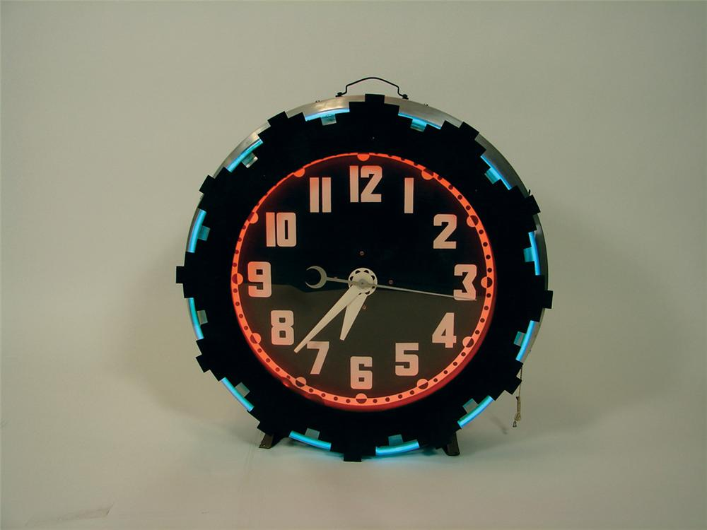 Beautifully restored 1930s Aztec neon service station clock with art deco influence. - Front 3/4 - 75816