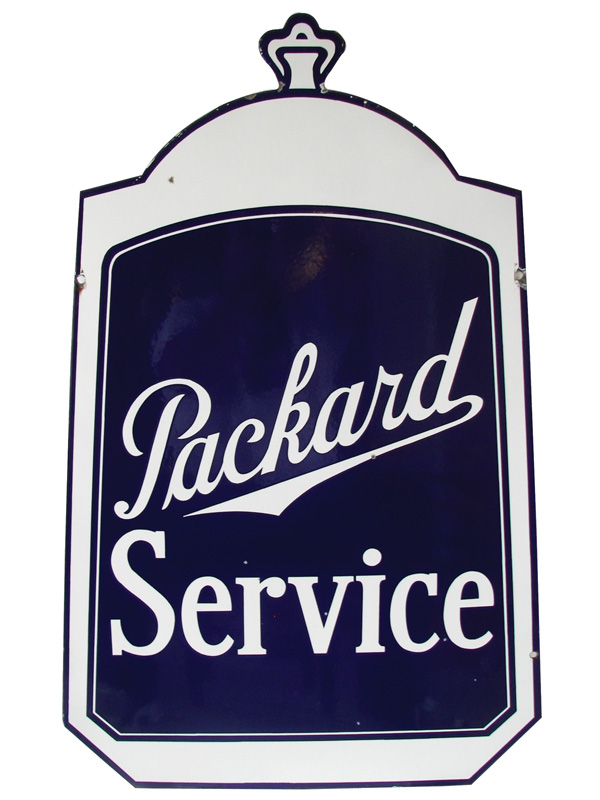 "Exceptional 1930s Packard Automobiles double-sided porcelain ""radiator shaped"" dealership sign.  Size 30""x42"" - Front 3/4 - 75831"
