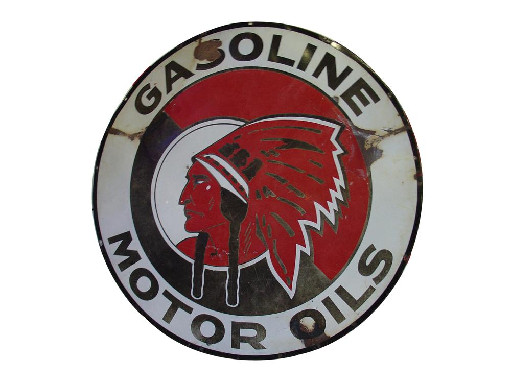 "Rare 1930s Red Indian Motor Oil double-sided porcelain service station sign.  Size 60"" Diameter - Front 3/4 - 76835"