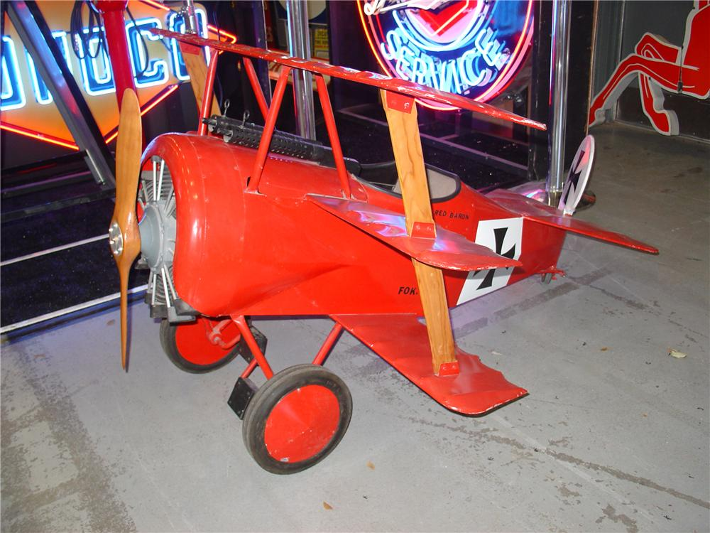 Interesting Red Baron Triple-Wing open cock-pit pedal car. - Front 3/4 - 76853