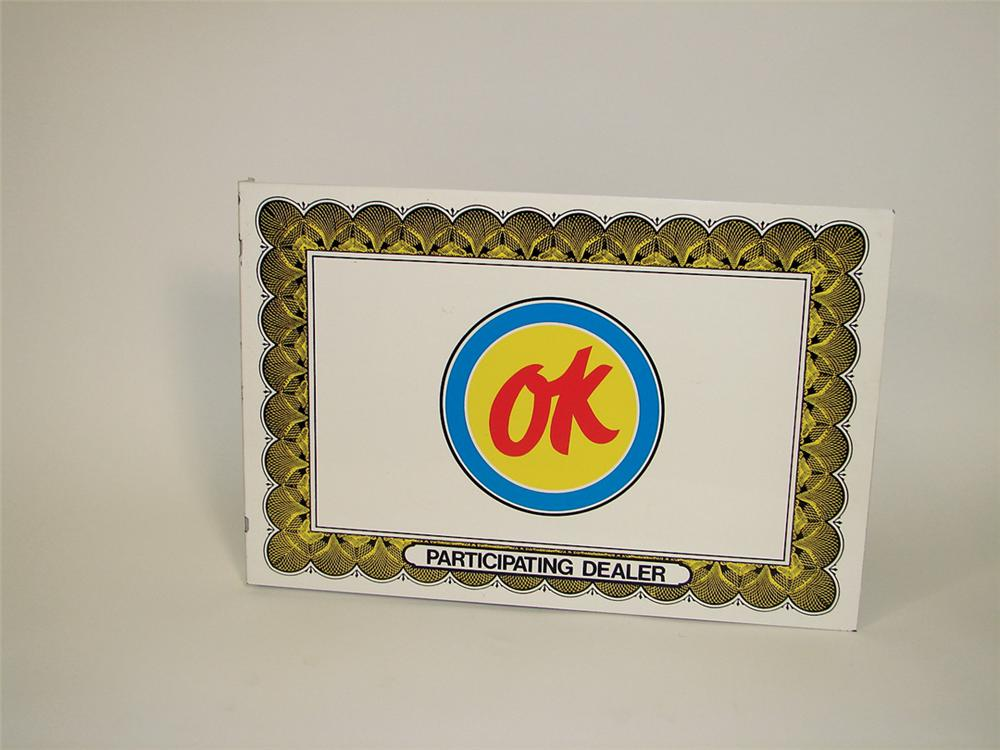 1960s Chevrolet OK Used Cars tin painted dealership flange sign. - Front 3/4 - 76854