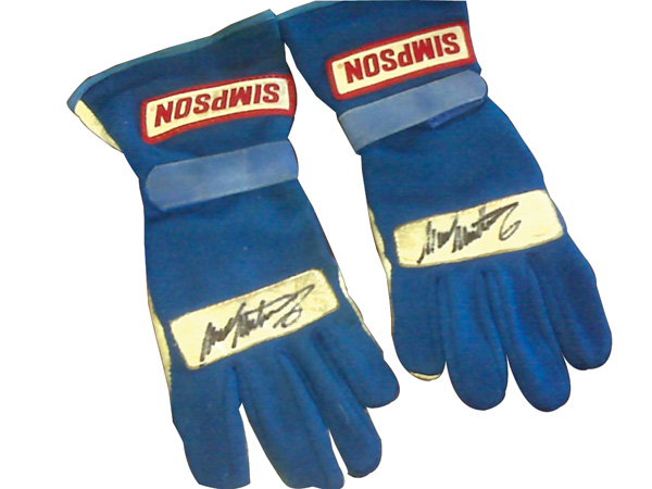 Authentic 1998 Mark Martin autographed race gloves used by Mr. Martin to finish second in Nascar standings that season. - Front 3/4 - 76914