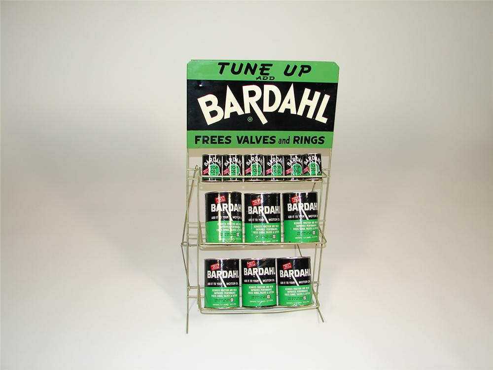 Neat 1960s all original Bardahl motor oil additive rack with display cans. - Front 3/4 - 79313