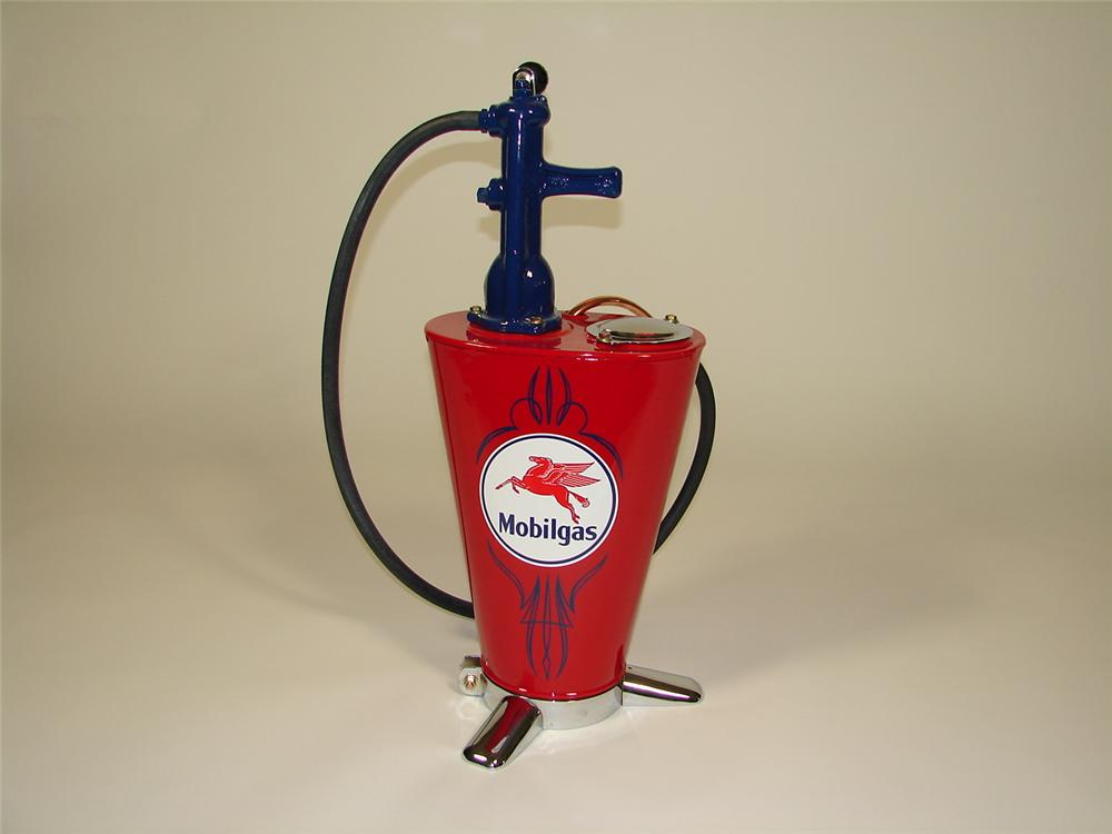 Perfectly restored 1930s Mobil Gasoline 5 gallon service department hand crank greaser. - Front 3/4 - 79316