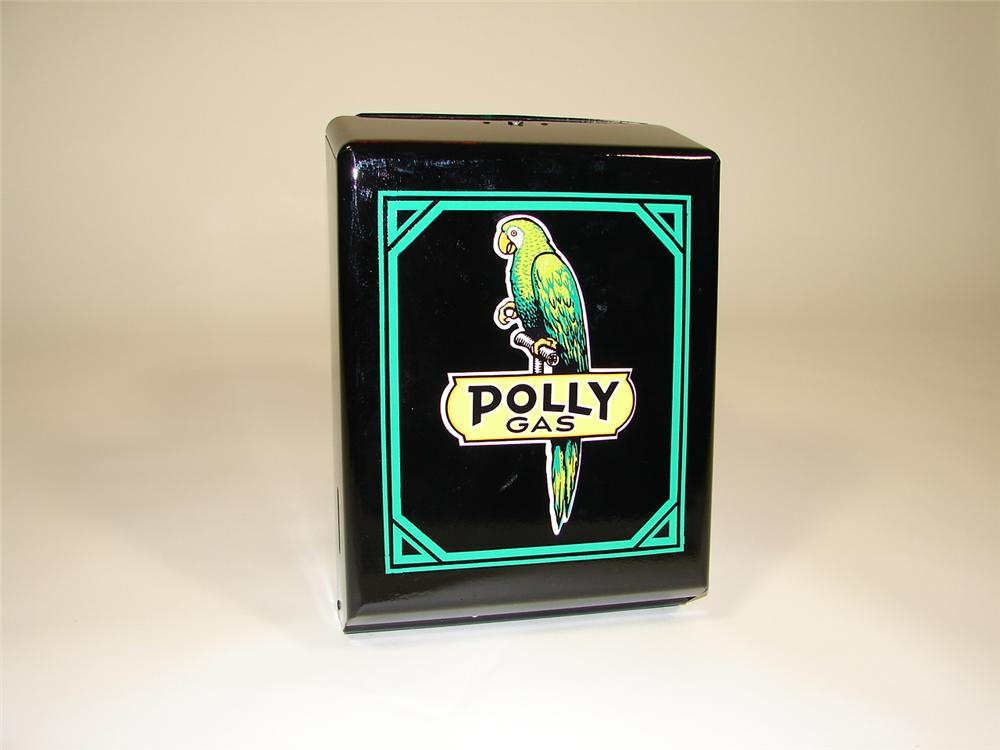 """Neat 1940s-50s service station island towel dispenser restored in Polly Gas regalia. Size 11""""x16""""x5"""" - Front 3/4 - 79317"""