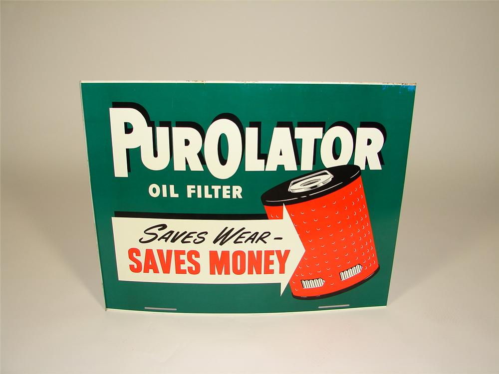 N.O.S. 1960s Purolator Oil Filters double-sided tin service station sign. - Front 3/4 - 79322