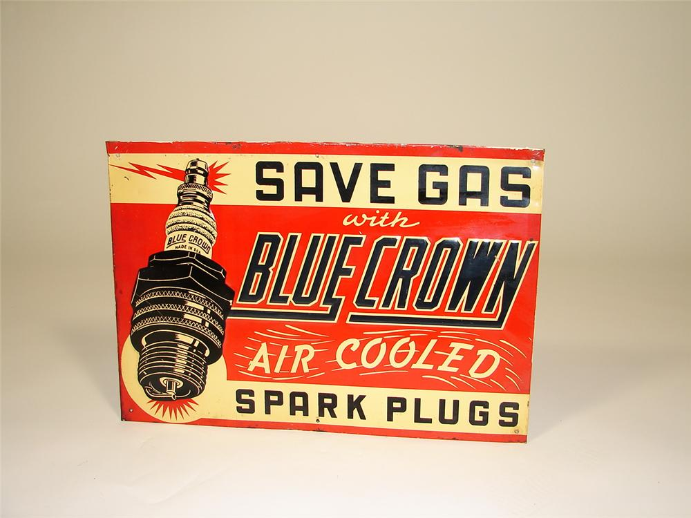 Killer 1930s Blue Crown Spark Plugs single-sided embossed tin garage sign. - Front 3/4 - 79329