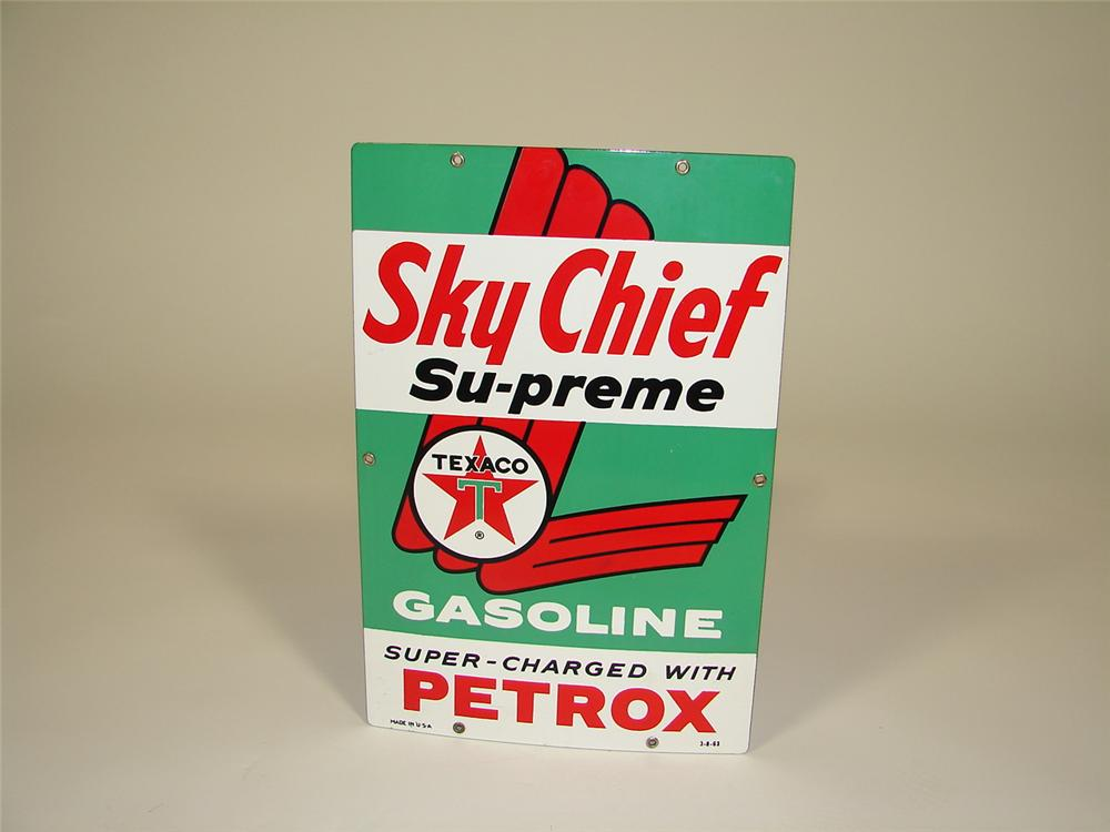 N.O.S. 1963 Texaco Sky Chief Supreme single-sided porcelain pump plate sign. - Front 3/4 - 79330