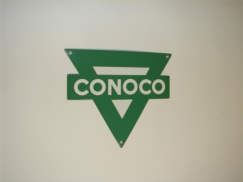 N.O.S. 1950s Conoco gasoline single-sided triangular shaped porcelain pump plate sign. - Front 3/4 - 79331