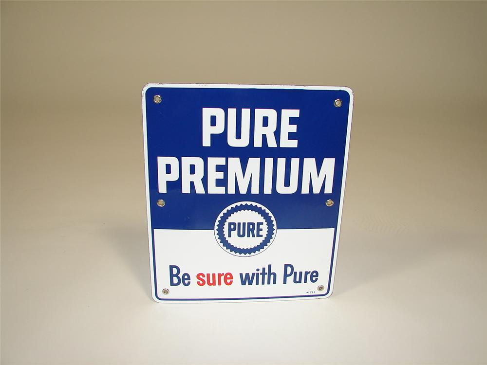 Impressive N.O.S. 1947 Pure Premium Gasoline single-sided porcelain pump plate sign. - Front 3/4 - 79332