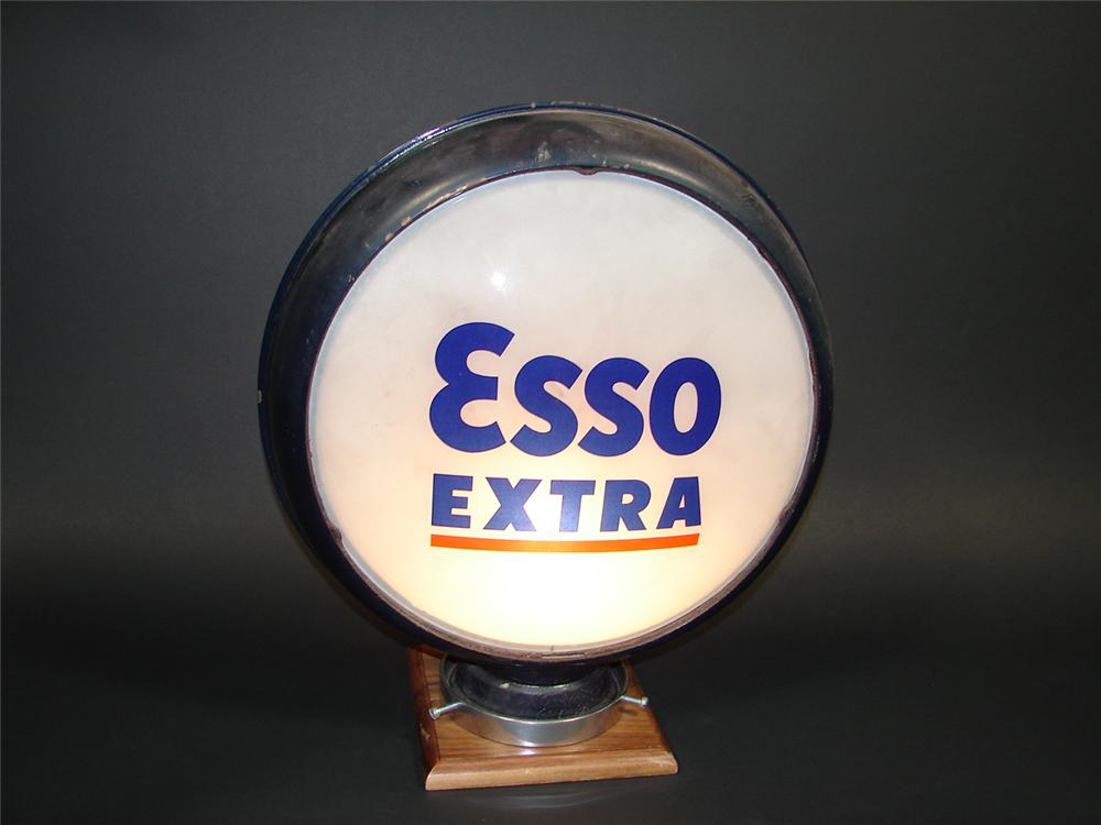 "Late 1930s-40s Esso Extra metal bodied gas pump globe with 15"" glass lenses. - Front 3/4 - 79339"