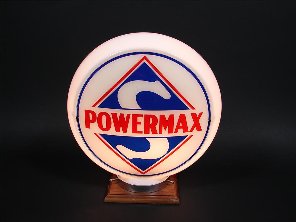 N.O.S. 1940s Skelly Supreme Gasoline narrow bodied milk glass gas pump globe. - Front 3/4 - 79340