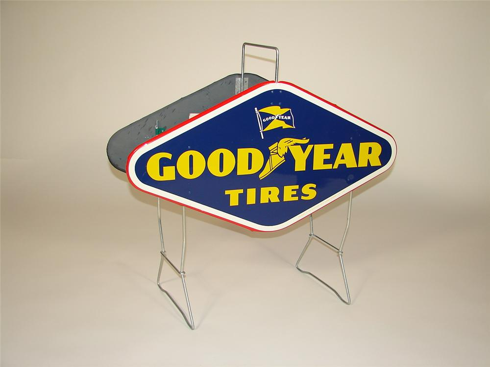 Sharp 1950s Goodyear Tires dealership metal tire display. - Front 3/4 - 79350