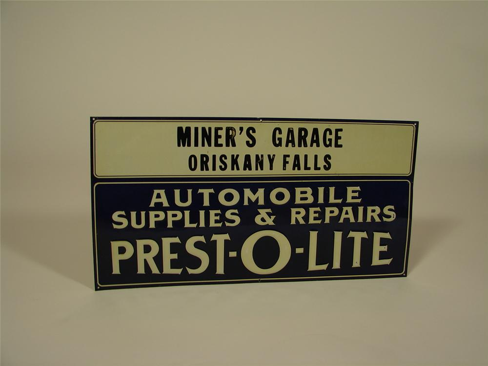 Scarce 1920s N.O.S. Prest-O-Lite Automotive Batteries and Supplies single-sided tin embossed garage sign. - Front 3/4 - 79353