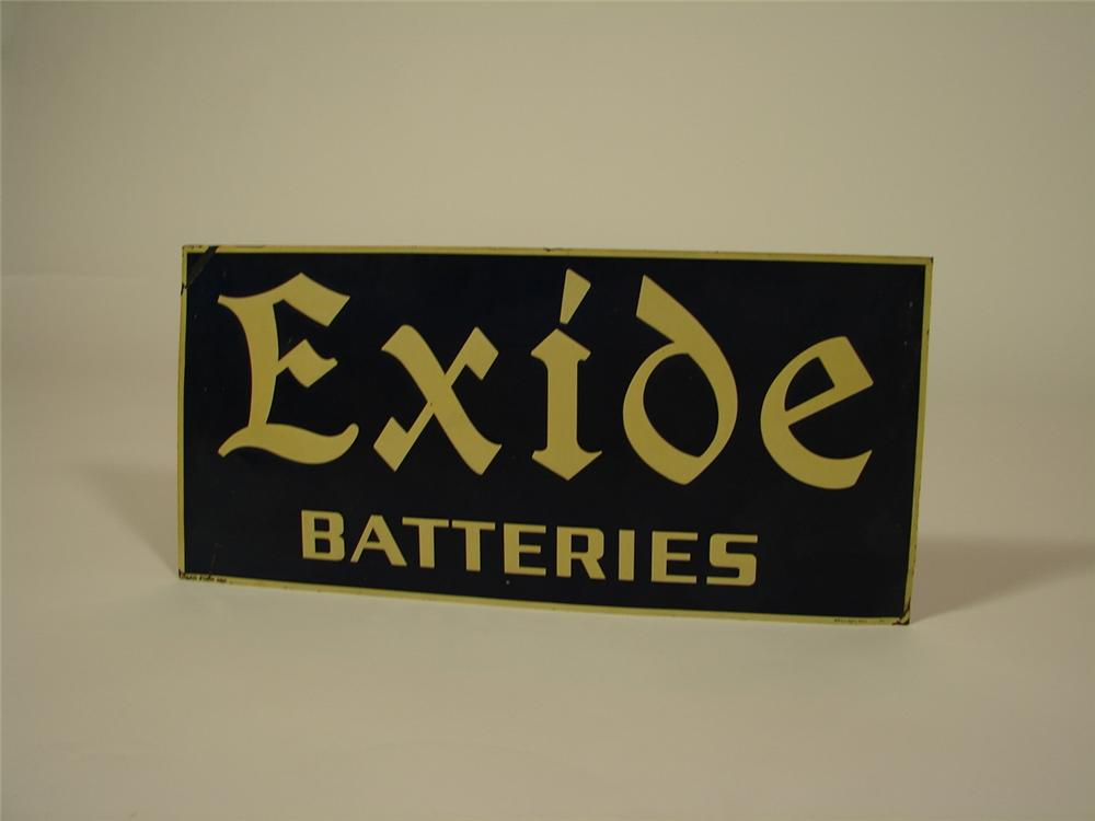 Late 1920s Exide Batteries single-sided tin garage sign. - Front 3/4 - 79358