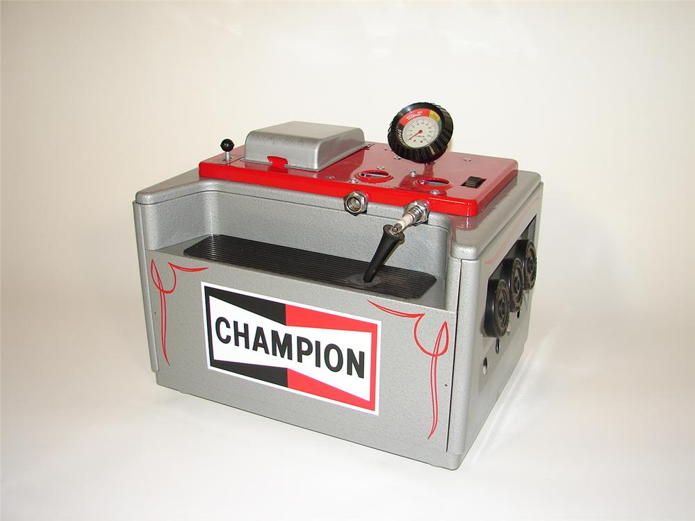 Impressively restored 1950s Champion Spark Plugs counter-top plug cleaner and analyzer. - Front 3/4 - 79372